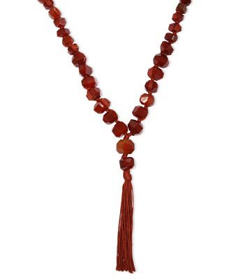 Lucky brand necklace silver tone semi precious carnelian for Macy s lucky brand jewelry