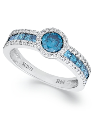 Bella Bleu by EFFY Collection 14k White Gold Ring, Blue Diamond (1/2 ct. t.w.) and White Diamond (1/2 ct. t.w.) Ring