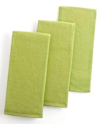 Martha Stewart Collection Pique Kitchen Towels, Set of 3 Green