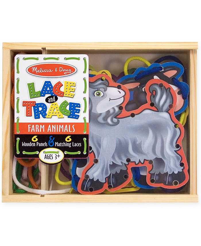 Melissa and Doug - Kids Toys, Farm Animals Lace and Trace Panels