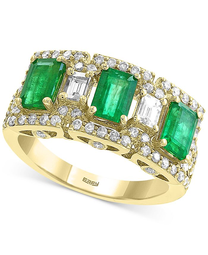EFFY Collection - Emerald (1-5/8 ct. t.w.) & Diamond (3/4 ct. t.w.) Ring in 14k Gold