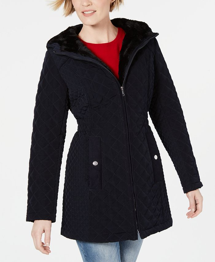 Laundry by Shelli Segal - Faux-Fur-Trim Hooded Jacket