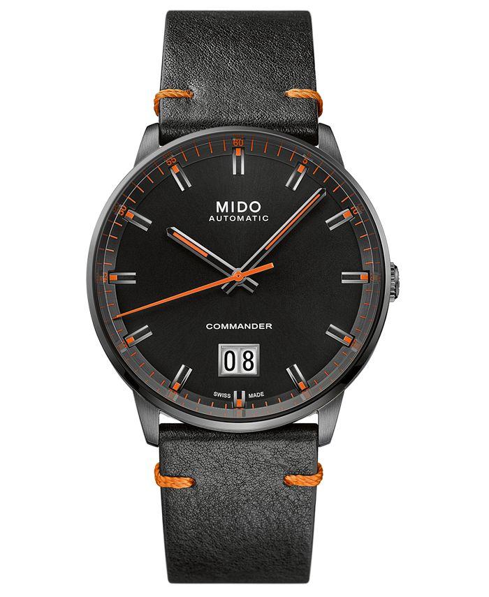 Mido - Men's Swiss Automatic Commander Big Date Black Leather Strap Watch 42mm