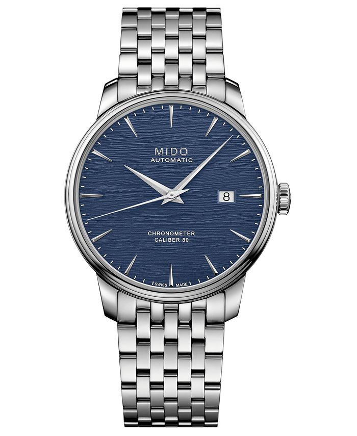 Mido - Men's Swiss Automatic Baroncelli Stainless Steel Bracelet Watch 40mm