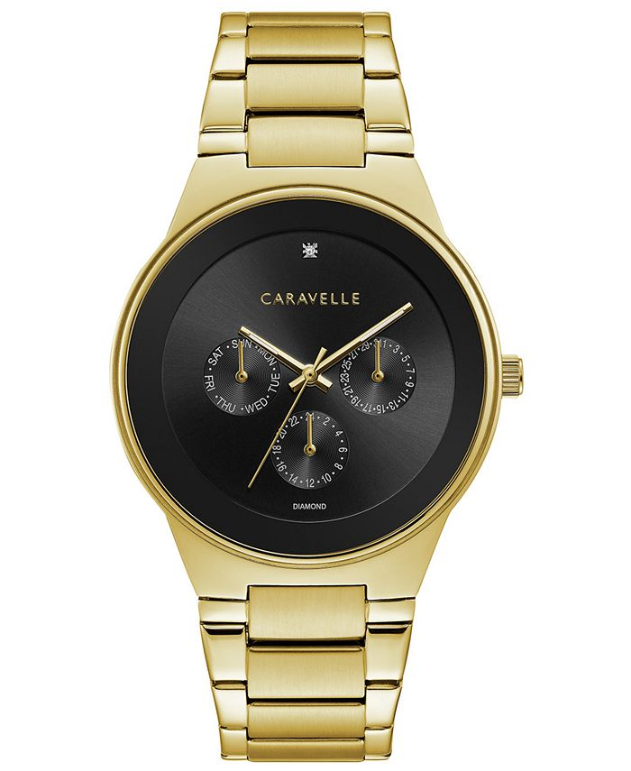 Caravelle - Men's Diamond-Accent Gold-Tone Stainless Steel Bracelet Watch 40mm