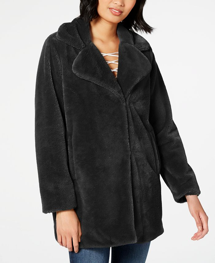 CoffeeShop - Juniors' Leopard-Print Faux-Fur Coat