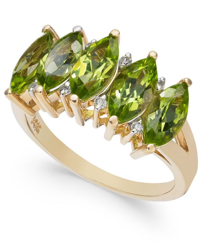 Macy's Peridot (2-3/4 ct. t.w.) & Diamond Accent Ring in 14k White Gold