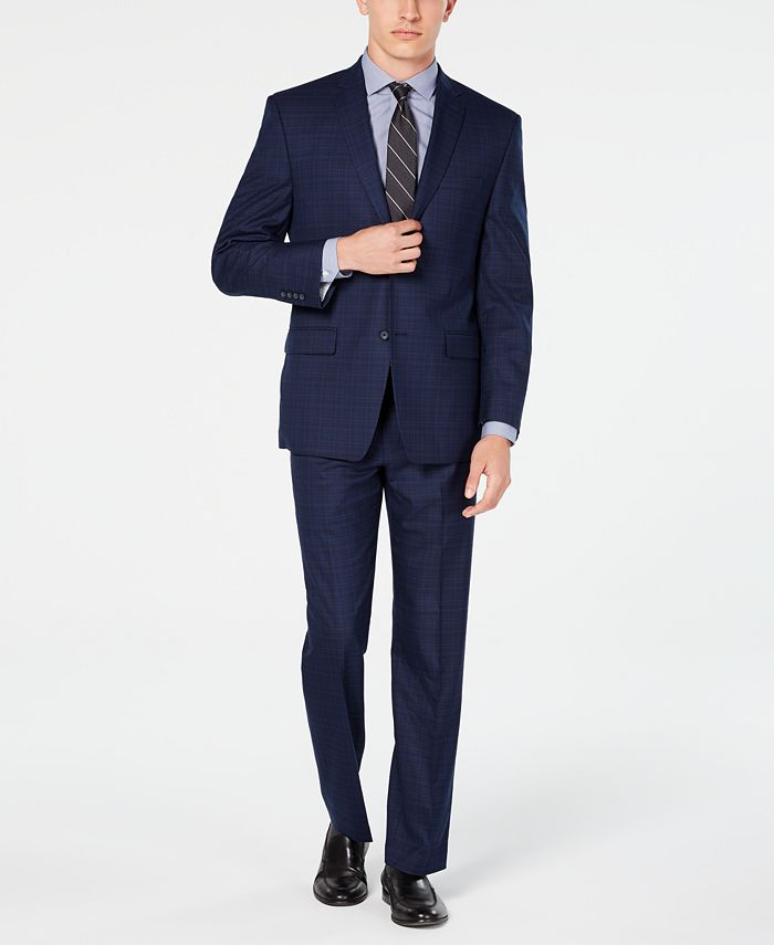 Marc New York - Men's Modern-Fit Navy Plaid Suit