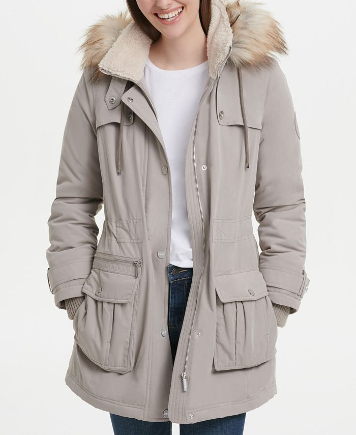 DKNY - Faux-Fur-Trim Hooded Anorak