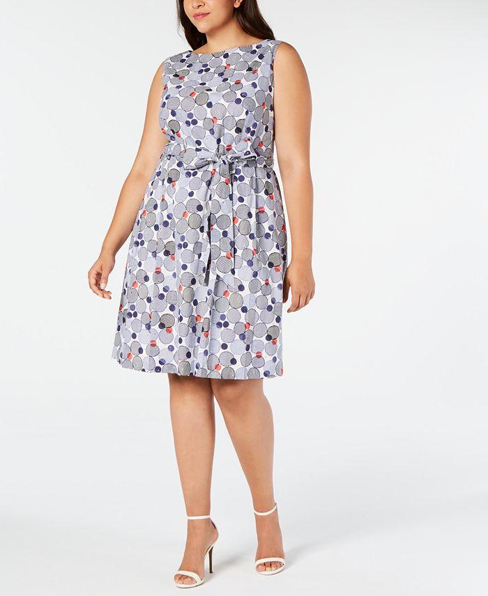 Anne Klein - Plus Size Cotton Printed Belted Dress