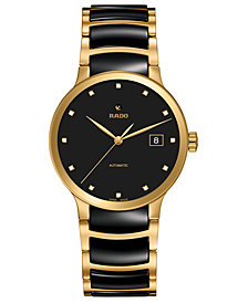 Rado Women's Swiss Automatic Centrix Diamond-Accent Two-Tone PVD Stainless Steel Bracelet Watch 38mm