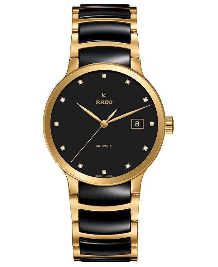 Rado - Women's Swiss Automatic Centrix Diamond-Accent Two-Tone PVD Stainless Steel Bracelet Watch 38mm