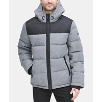 DKNY Mens Mixed-Media Puffer Coat