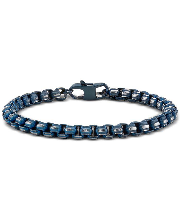 """He Rocks - Link Chain Bracelet In Blue-Tone Stainless Steel, 8.5"""""""