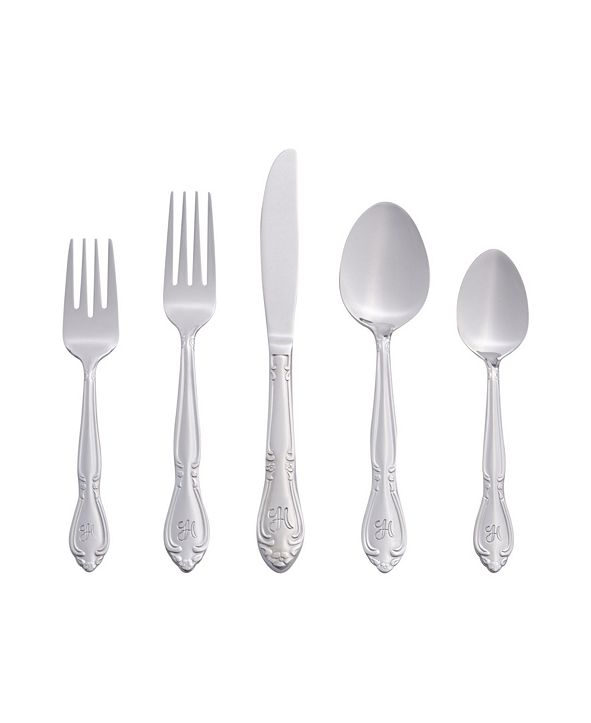 RiverRidge Home Riverridge Rose 46 Piece Monogrammed Flatware Set - H, Service for 8