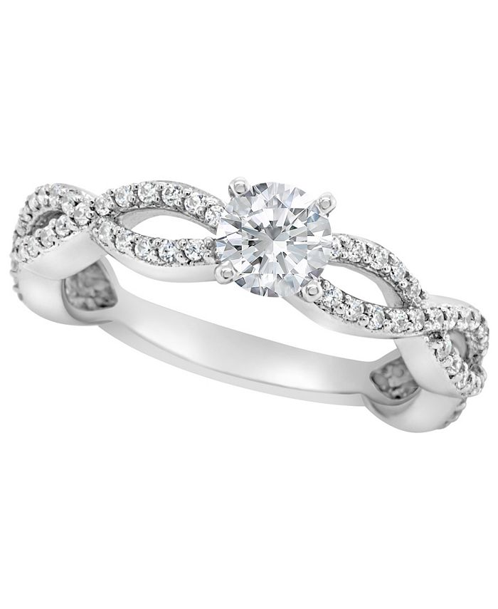 Macy's - Certified Round Diamond Engagement Ring (7/8 ct. t.w.) in 14k White Gold, Rose Gold, or Yellow Gold