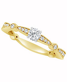 Certified Round Diamond Engagement Ring (1/2 ct. t.w.) in 14k White Gold, Rose Gold, or Yellow Gold