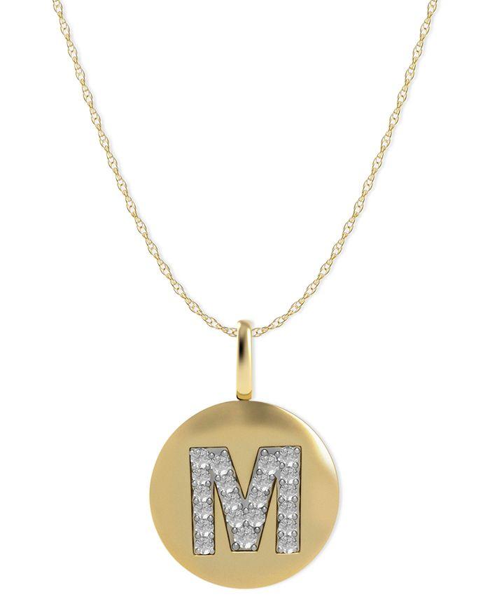 Macy's - 14k Gold Necklace, Diamond Accent Letter M Disk Pendant