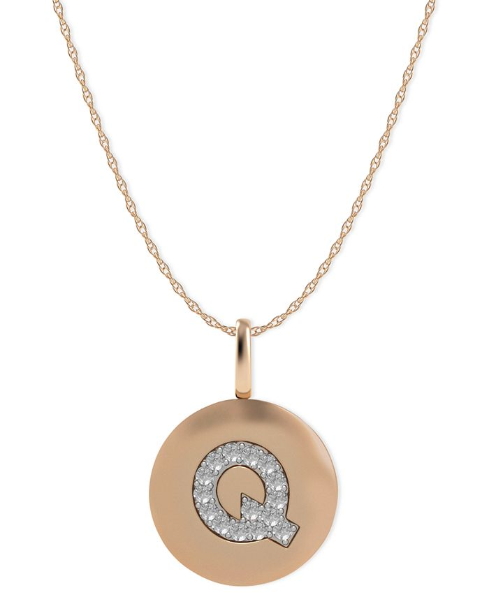 Macy's - 14k Rose Gold Necklace, Diamond Accent Letter Q Disk Pendant