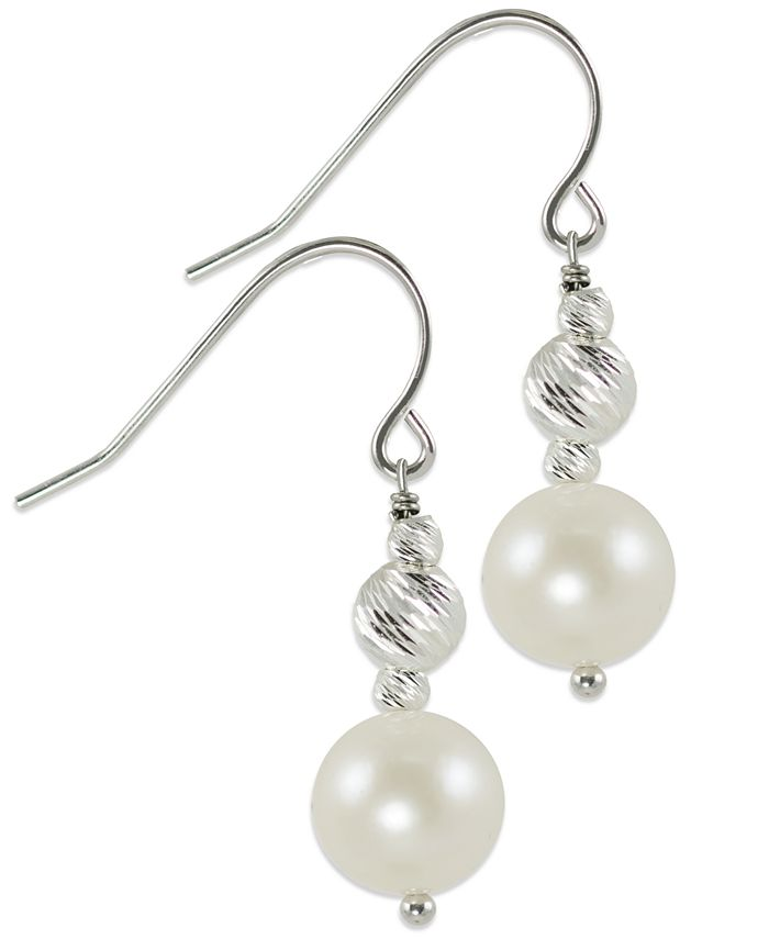 Macy's - Cultured Freshwater Pearl and Rhodium-Plated Sparkle Bead Earrings in Sterling Silver (8mm)