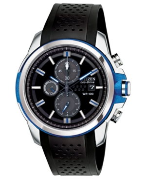 Citizen Men's Chronograph Drive from Citizen Eco-Drive Black Polyurethane Strap Watch 45mm CA0421-04E