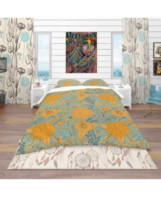 Designart 'Flower Pattern Botanic Texture' Bohemian and Eclectic Duvet Cover Set - Twin