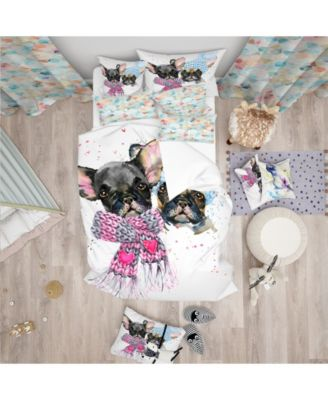 Designart 'Lovely Puppies With Neck Shawls' Modern and Contemporary Duvet Cover Set - Twin