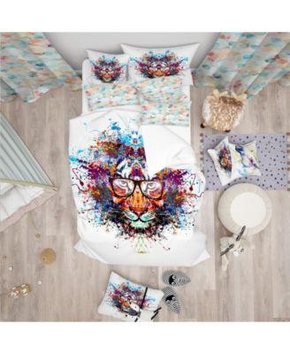 Designart 'Colorful Tiger In Glasses' Modern Kids Duvet Cover Set - Queen