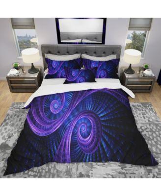 Designart 'Royal Purple and Blue Dream' Modern and Contemporary Duvet Cover Set - Queen