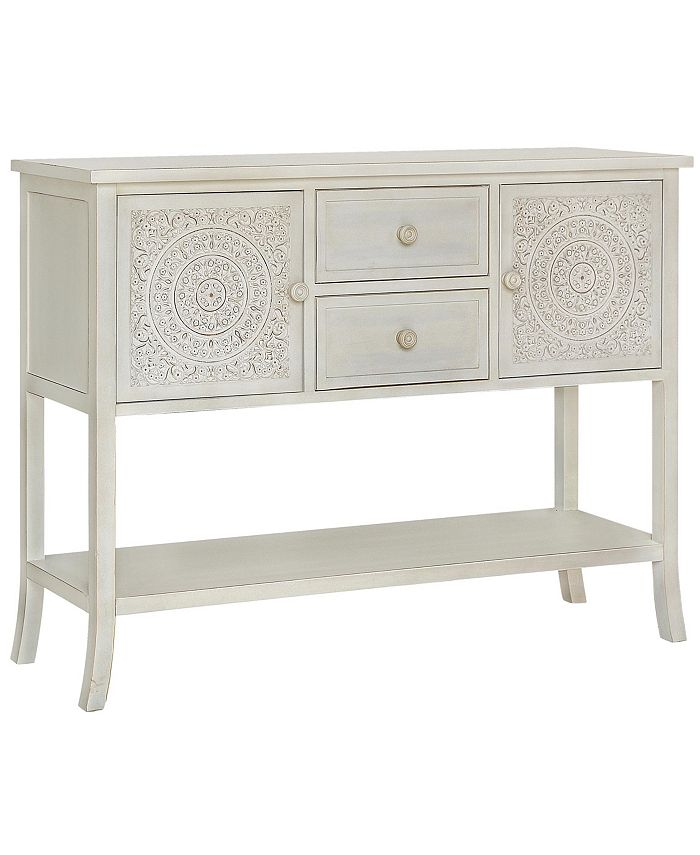 Gallerie Décor - Antiqued Carved Console Table, Quick Ship