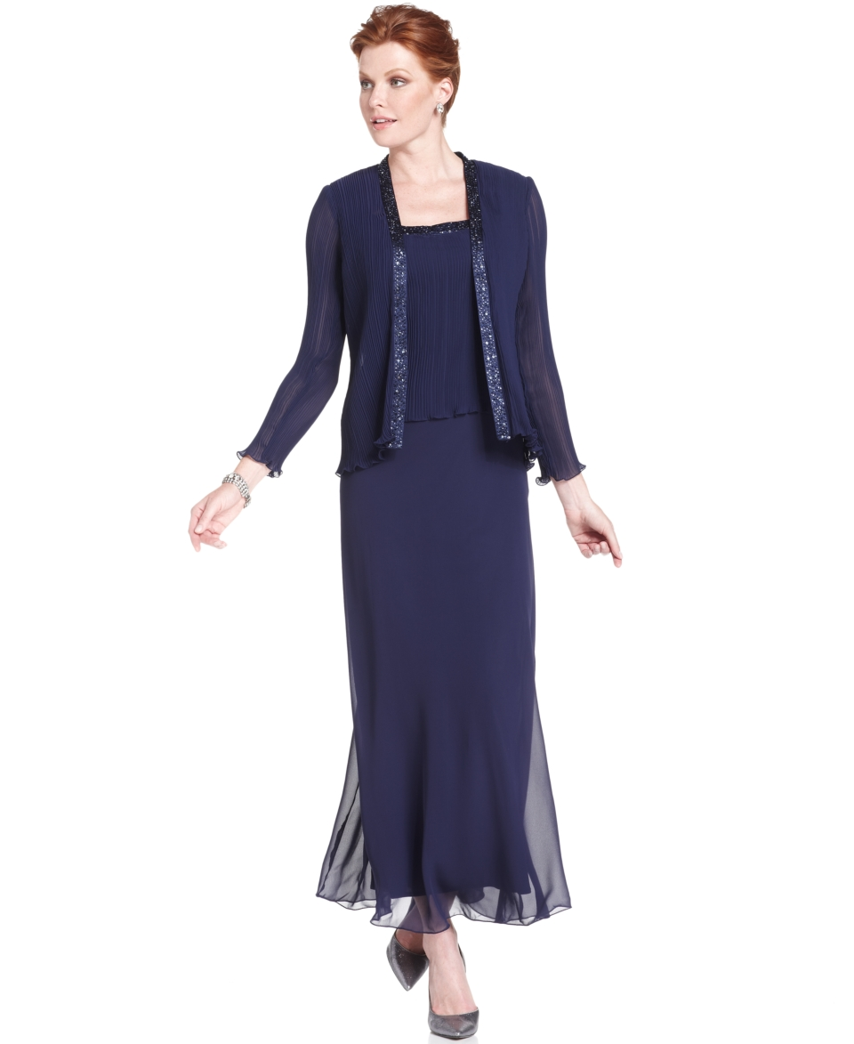 Patra Dress and Jacket, Bead Accent Evening Dress   Womens Dresses
