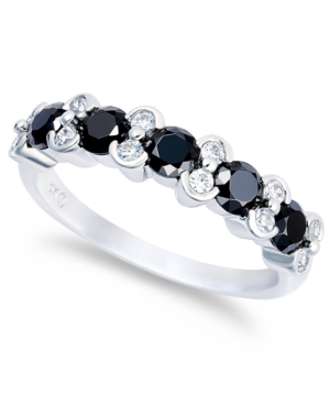 10k White Gold Ring, White Diamond and Black Diamond Ring (2 ct. t.w.)