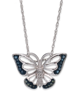 Sterling Silver Necklace, Blue and Green Diamond Accent Butterfly Pendant (1/10 ct. t.w.)