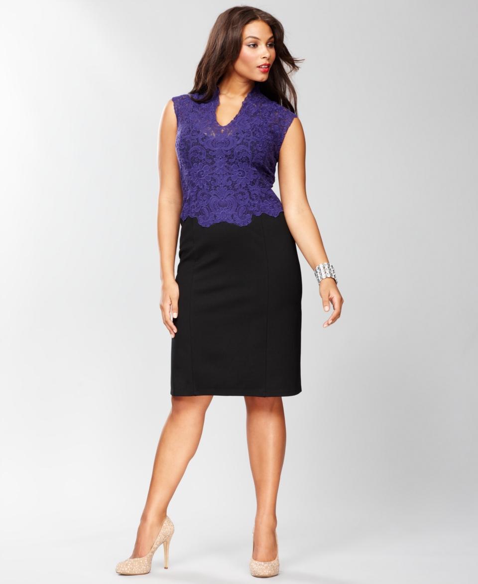 INC International Concepts Plus Size Dress, Sleeveless Lace Bodice
