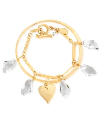 Robert Lee Morris Bracelet Set; Gold-Tone Heart Bangle and Faceted Glass Stone Link Bracelet