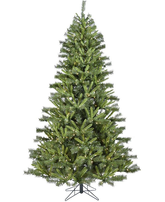 Christmas Time 6.5'. Norway Pine Artificial Christmas Tree with Clear LED String Lighting