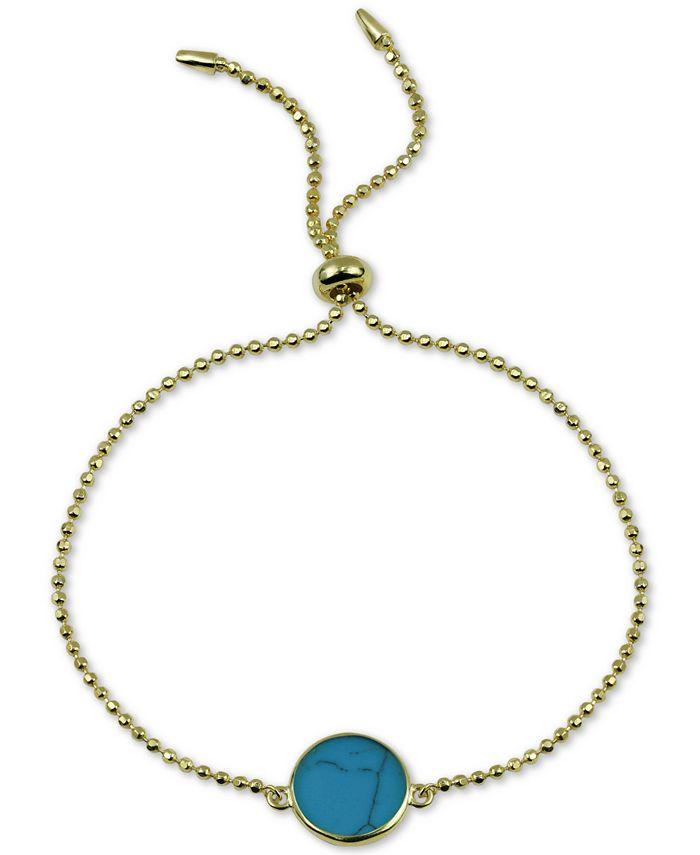 Argento Vivo - Reconstituted Turquoise Bolo Bracelet in 18k Gold-Plated Sterling Silver