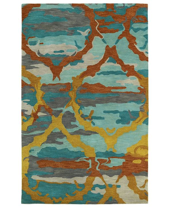 "Kaleen Brushstrokes BRS02-91 Teal 5' x 7'9"" Area Rug"