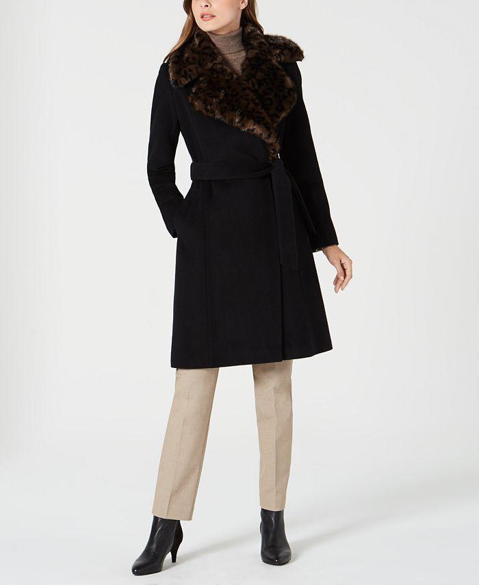 Via Spiga - Belted Faux-Fur-Leopard-Collar Coat