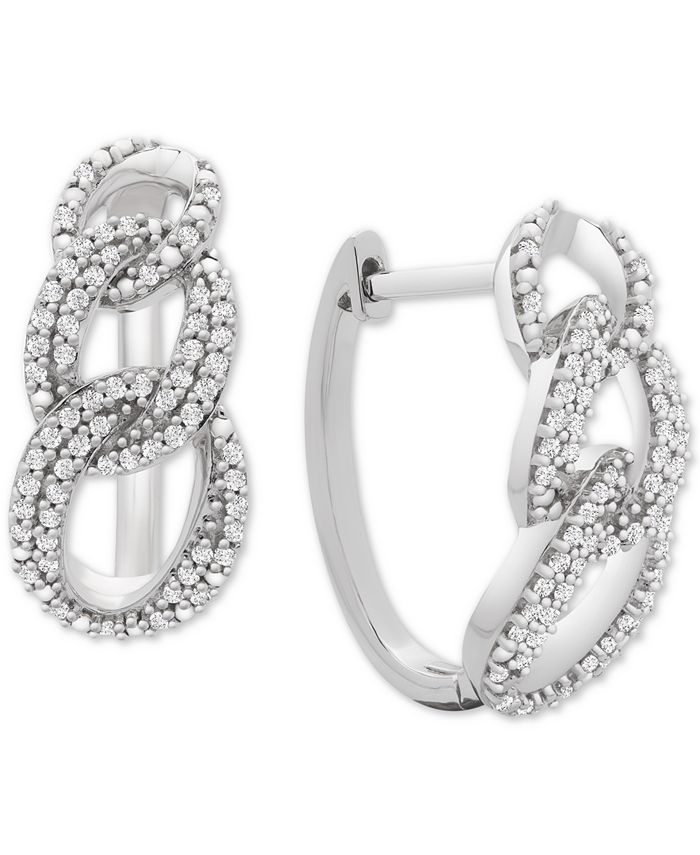 Macy's - Diamond Interlocking Link Hoop Earrings (1/2 ct. t.w.) in Sterling Silver