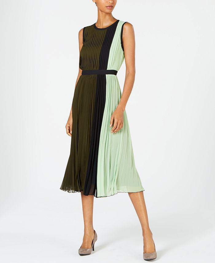 Alfani - Colorblocked Pleated Sleeveless Dress
