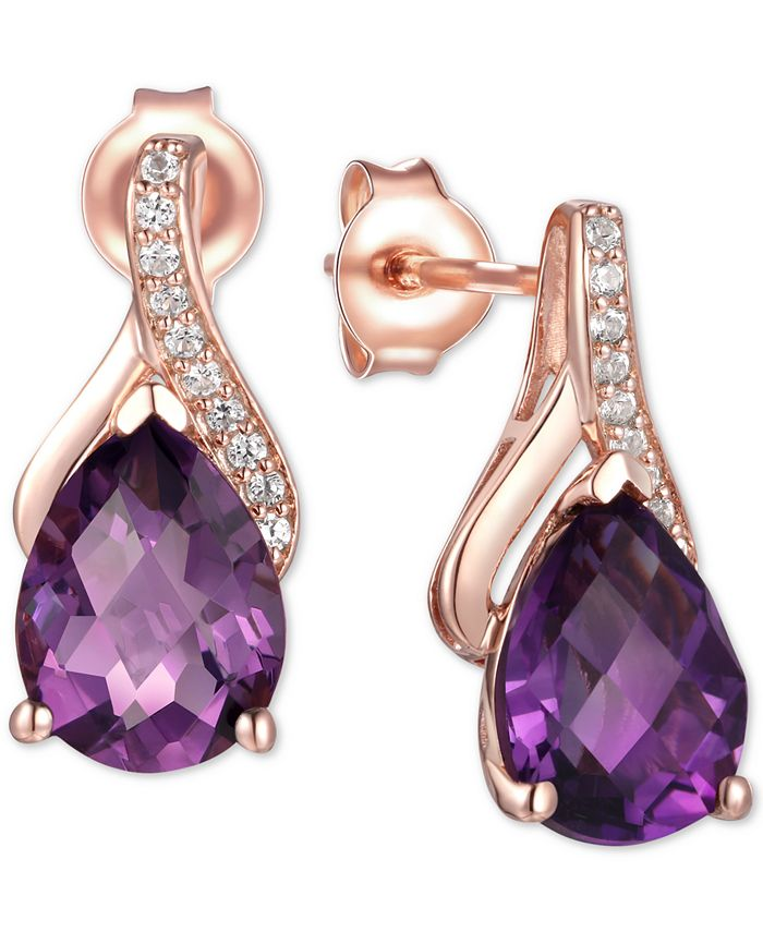 Macy's - Amethyst (2-1/10 ct. t.w.) & Diamond Accent Drop Earrings in 14k Rose Gold (Also Available in Rhodolite Garnet, Mystic Topaz, Citrine, and Blue Topaz)