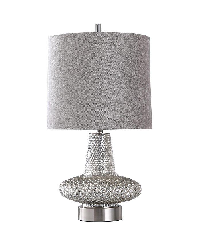 Harp & Finial - Wells Table Lamp Mercury Glass Body with Steel Base Hardback Shade