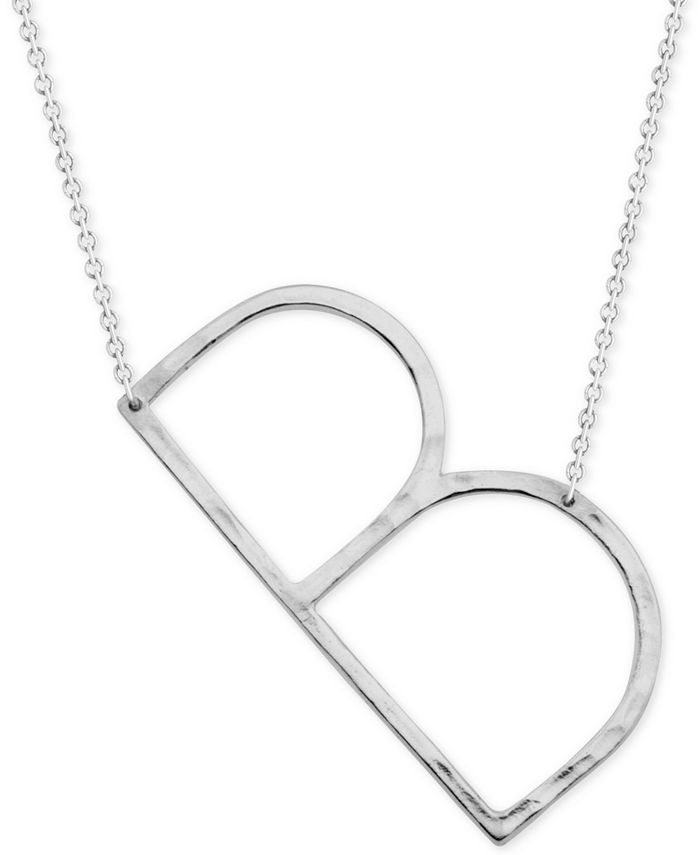 "Macy's - Silver-Plated Hammered Initial 18"" Pendant Necklace"
