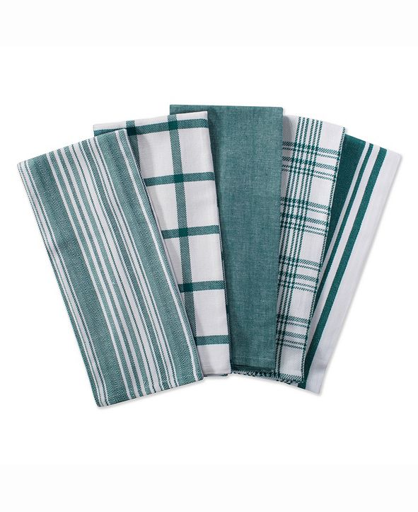 Design Imports Assorted Woven Dishtowel, Set of 5