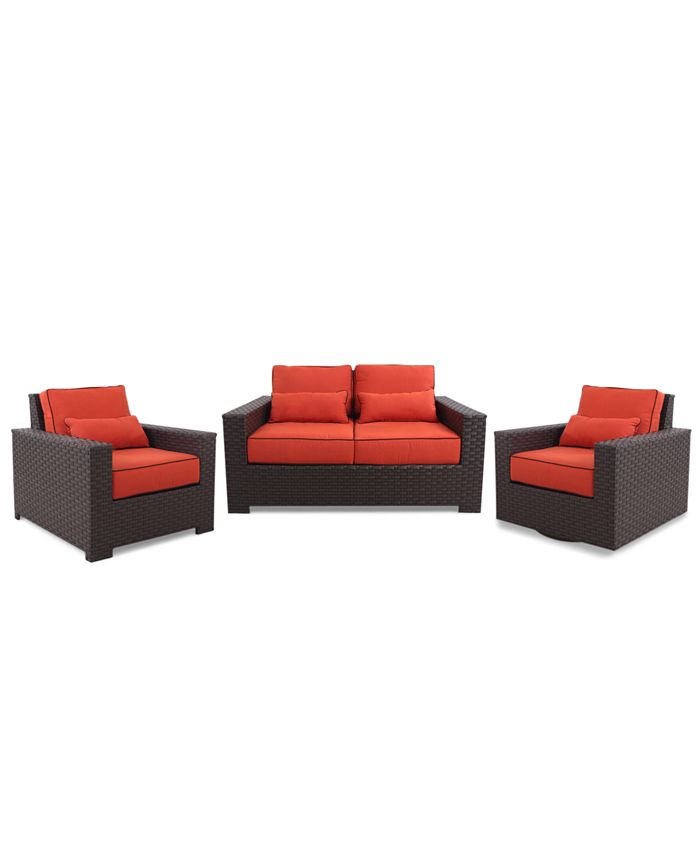 Furniture - San Lucia Outdoor 3 Piece Seating Set: 1 Loveseat, 1 Lounge Chair and 1 Swivel Chair