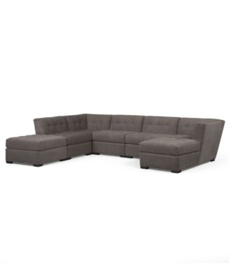 roxanne fabric modular sectional sofa 6 piece 2 square corner units