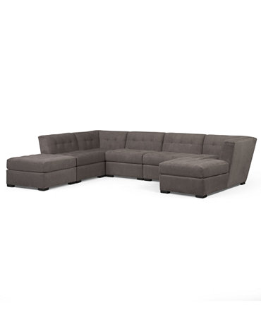 Roxanne fabric 6 piece modular sectional sofa corner unit for Roxanne sectional sofa macy s
