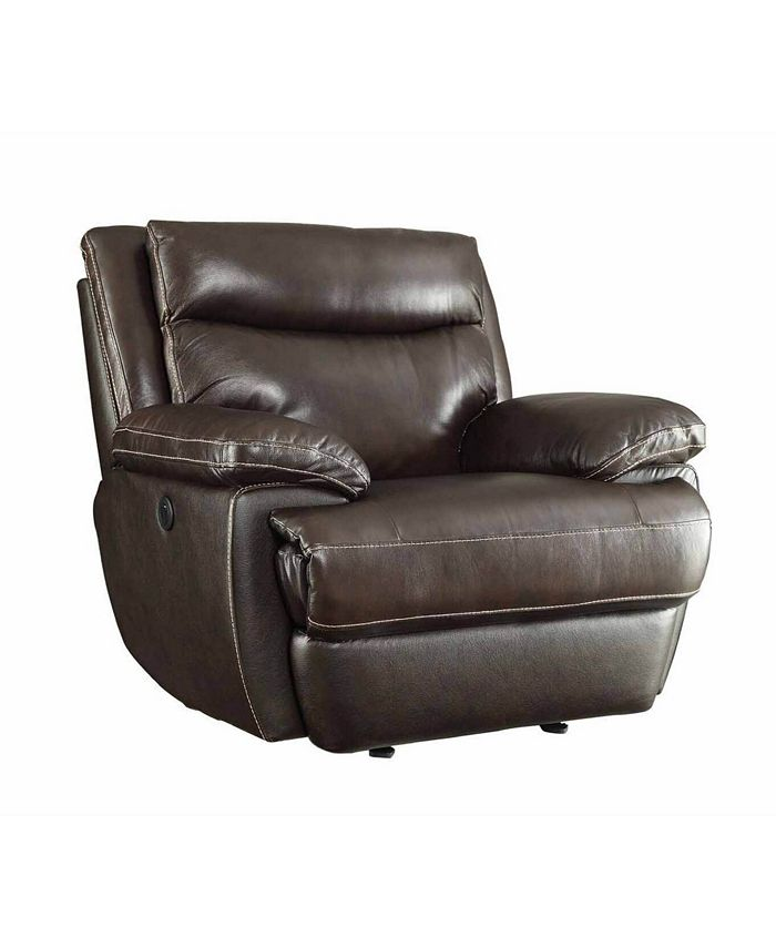 Macy's - MacPherson Power Glider Recliner with Built-in USB Charging Port Espresso
