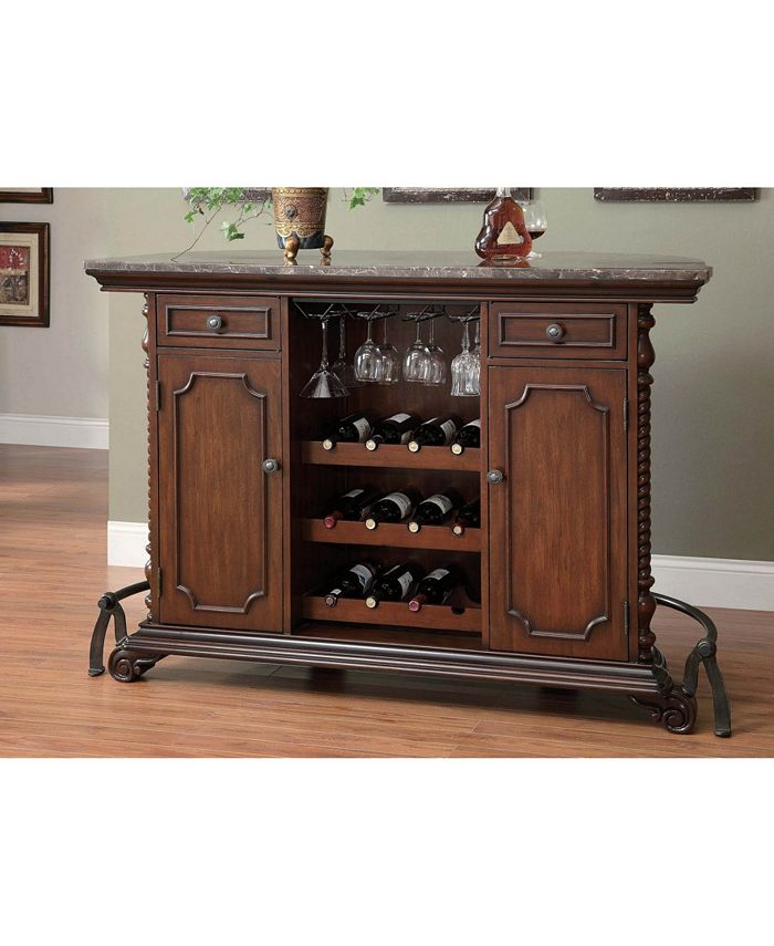 Coaster Home Furnishings - 2-drawer Bar Unit with Marble Top Warm Brown